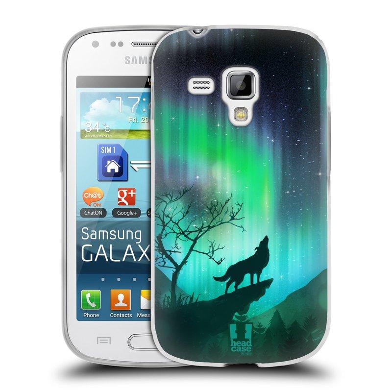 Silikonové pouzdro na mobil Samsung Galaxy S Duos HEAD CASE Polární Záře Vlk (Silikonový kryt či obal na mobilní telefon Samsung Galaxy S Duos GT-S7562)