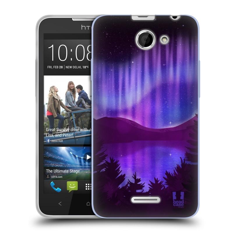 Silikonové pouzdro na mobil HTC Desire 516 HEAD CASE Polární Záře Nad Jezerem (Silikonový kryt či obal na mobilní telefon HTC Desire 516 Dual SIM)