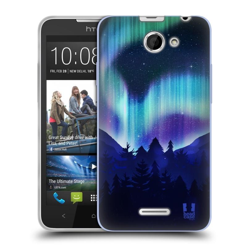 Silikonové pouzdro na mobil HTC Desire 516 HEAD CASE Polární Záře Borovice (Silikonový kryt či obal na mobilní telefon HTC Desire 516 Dual SIM)