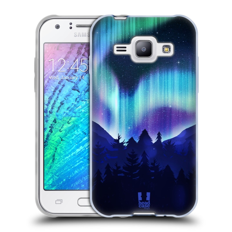 Silikonové pouzdro na mobil Samsung Galaxy J1 HEAD CASE Polární Záře Borovice (Silikonový kryt či obal na mobilní telefon Samsung Galaxy J1 a J1 Duos)
