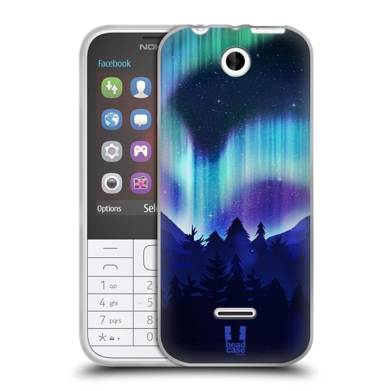 Silikonové pouzdro na mobil Nokia 225 HEAD CASE Polární Záře Borovice (Silikonový kryt či obal na mobilní telefon Nokia 225)