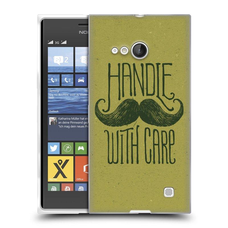 Silikonové pouzdro na mobil Nokia Lumia 730 Dual SIM HEAD CASE KNÍR HANDLE WITH CARE (Silikonový kryt či obal na mobilní telefon Nokia Lumia 730 Dual SIM)