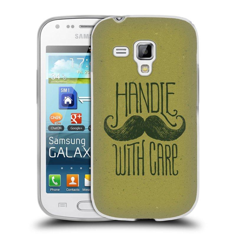Silikonové pouzdro na mobil Samsung Galaxy S Duos HEAD CASE KNÍR HANDLE WITH CARE (Silikonový kryt či obal na mobilní telefon Samsung Galaxy S Duos GT-S7562)