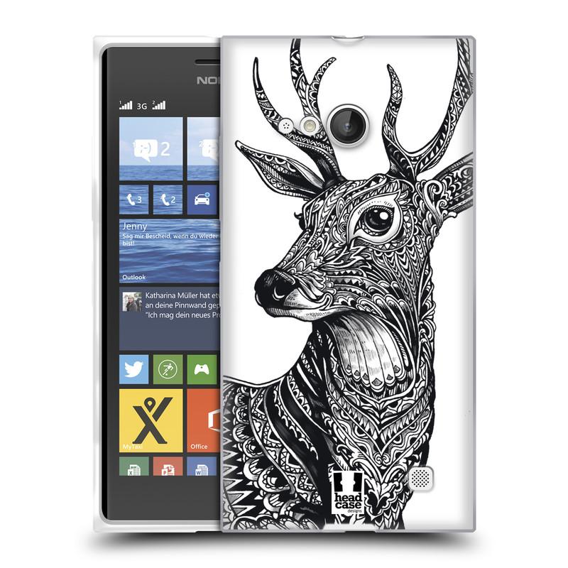 Silikonové pouzdro na mobil Nokia Lumia 730 Dual SIM HEAD CASE Zdobený Jelínek (Silikonový kryt či obal na mobilní telefon Nokia Lumia 730 Dual SIM)