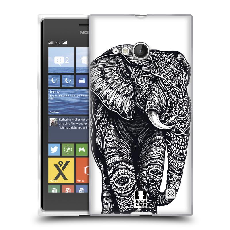 Silikonové pouzdro na mobil Nokia Lumia 730 Dual SIM HEAD CASE Zdobený Slon (Silikonový kryt či obal na mobilní telefon Nokia Lumia 730 Dual SIM)
