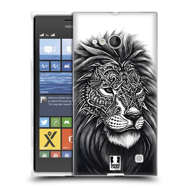 Silikonové pouzdro na mobil Nokia Lumia 730 Dual SIM HEAD CASE Zdobený Lev (Silikonový kryt či obal na mobilní telefon Nokia Lumia 730 Dual SIM)
