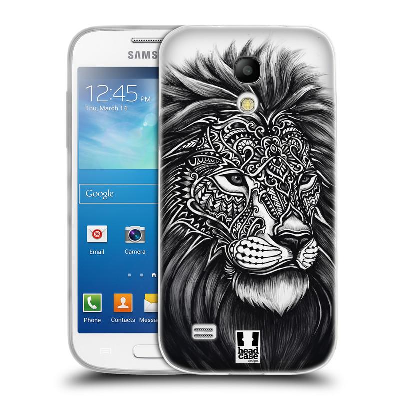 Silikonové pouzdro na mobil Samsung Galaxy S4 Mini HEAD CASE Zdobený Lev (Silikonový kryt či obal na mobilní telefon Samsung Galaxy S4 Mini GT-i9195 / i9190)