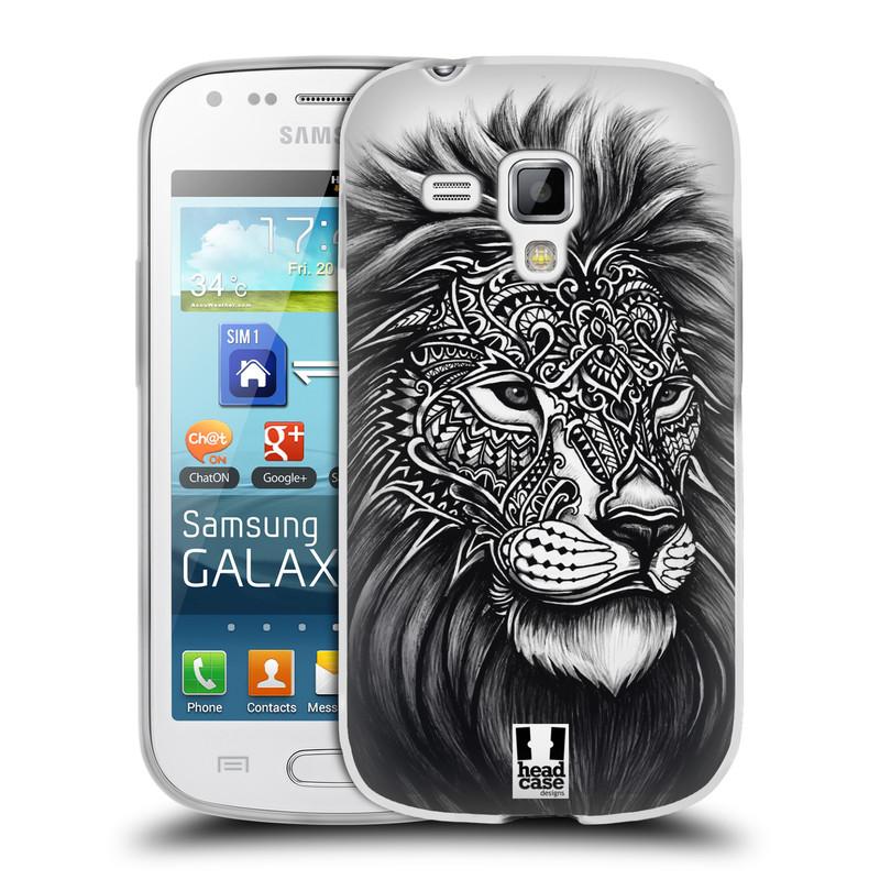 Silikonové pouzdro na mobil Samsung Galaxy S Duos HEAD CASE Zdobený Lev (Silikonový kryt či obal na mobilní telefon Samsung Galaxy S Duos GT-S7562)