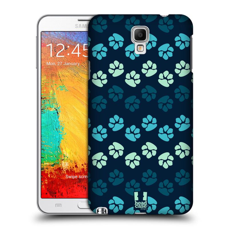Plastové pouzdro na mobil Samsung Galaxy Note 3 Neo HEAD CASE TLAPKY MODRÉ (Kryt či obal na mobilní telefon Samsung Galaxy Note 3 Neo SM-N7505)