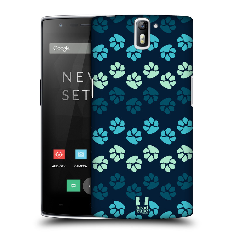 Plastové pouzdro na mobil OnePlus One HEAD CASE TLAPKY MODRÉ (Kryt či obal na mobilní telefon OnePlus One)