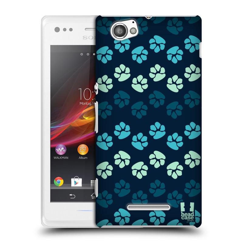 Plastové pouzdro na mobil Sony Xperia M C1905 HEAD CASE TLAPKY MODRÉ (Kryt či obal na mobilní telefon Sony Xperia M a M Dual)