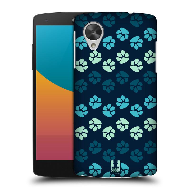 Plastové pouzdro na mobil LG Nexus 5 HEAD CASE TLAPKY MODRÉ (Kryt či obal na mobilní telefon LG Google Nexus 5 D821)