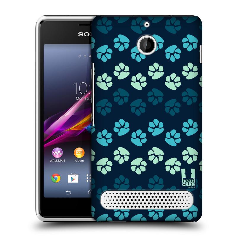 Plastové pouzdro na mobil Sony Xperia E1 D2005 HEAD CASE TLAPKY MODRÉ (Kryt či obal na mobilní telefon Sony Xperia E1 a E1 Dual )