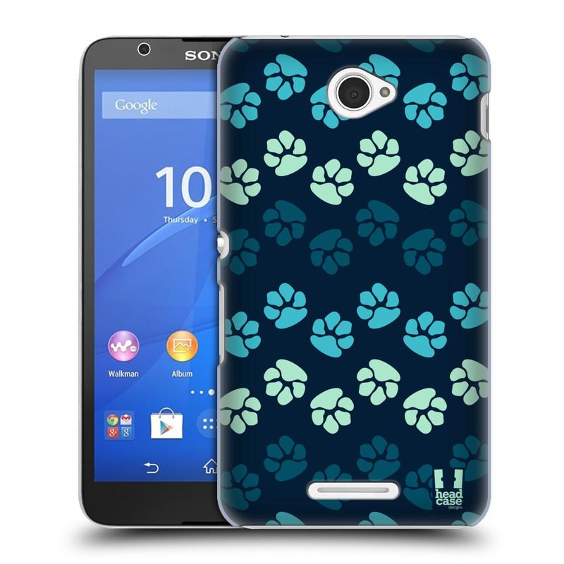 Plastové pouzdro na mobil Sony Xperia E4 E2105 HEAD CASE TLAPKY MODRÉ (Kryt či obal na mobilní telefon Sony Xperia E4 a E4 Dual SIM)