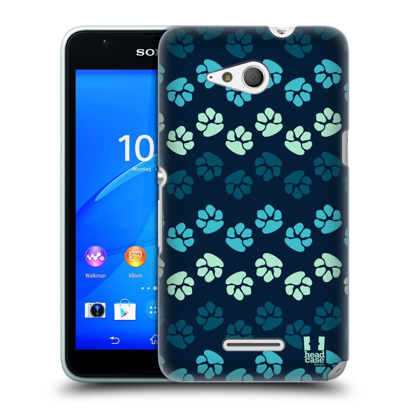 Plastové pouzdro na mobil Sony Xperia E4g E2003 HEAD CASE TLAPKY MODRÉ (Kryt či obal na mobilní telefon Sony Xperia E4g a E4g Dual SIM)