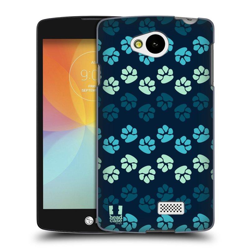 Plastové pouzdro na mobil LG F60 HEAD CASE TLAPKY MODRÉ (Kryt či obal na mobilní telefon LG F60 D390n)