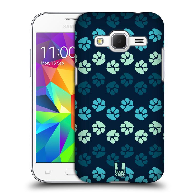 Plastové pouzdro na mobil Samsung Galaxy Core Prime LTE HEAD CASE TLAPKY MODRÉ (Kryt či obal na mobilní telefon Samsung Galaxy Core Prime LTE SM-G360)
