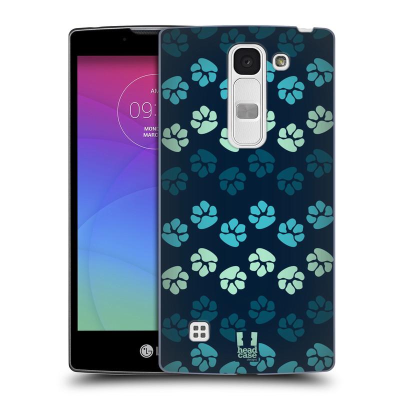 Plastové pouzdro na mobil LG Spirit LTE HEAD CASE TLAPKY MODRÉ (Kryt či obal na mobilní telefon LG Spirit H420 a LG Spirit LTE H440N)