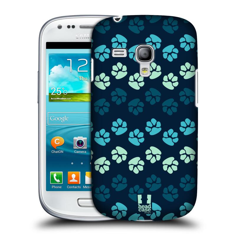 Plastové pouzdro na mobil Samsung Galaxy S III Mini HEAD CASE TLAPKY MODRÉ (Kryt či obal na mobilní telefon Samsung Galaxy S III Mini GT-i8190)