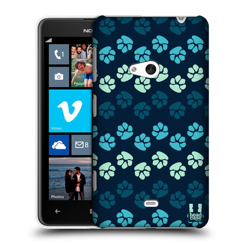 Plastové pouzdro na mobil Nokia Lumia 625 HEAD CASE TLAPKY MODRÉ (Kryt či obal na mobilní telefon Nokia Lumia 625)