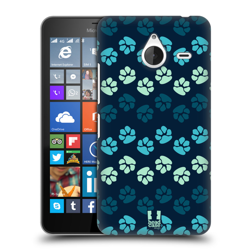 Plastové pouzdro na mobil Microsoft Lumia 640 XL HEAD CASE TLAPKY MODRÉ (Kryt či obal na mobilní telefon Microsoft Lumia 640 XL)
