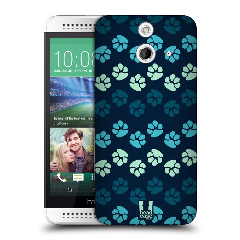 Plastové pouzdro na mobil HTC ONE E8 HEAD CASE TLAPKY MODRÉ (Kryt či obal na mobilní telefon HTC ONE E8)