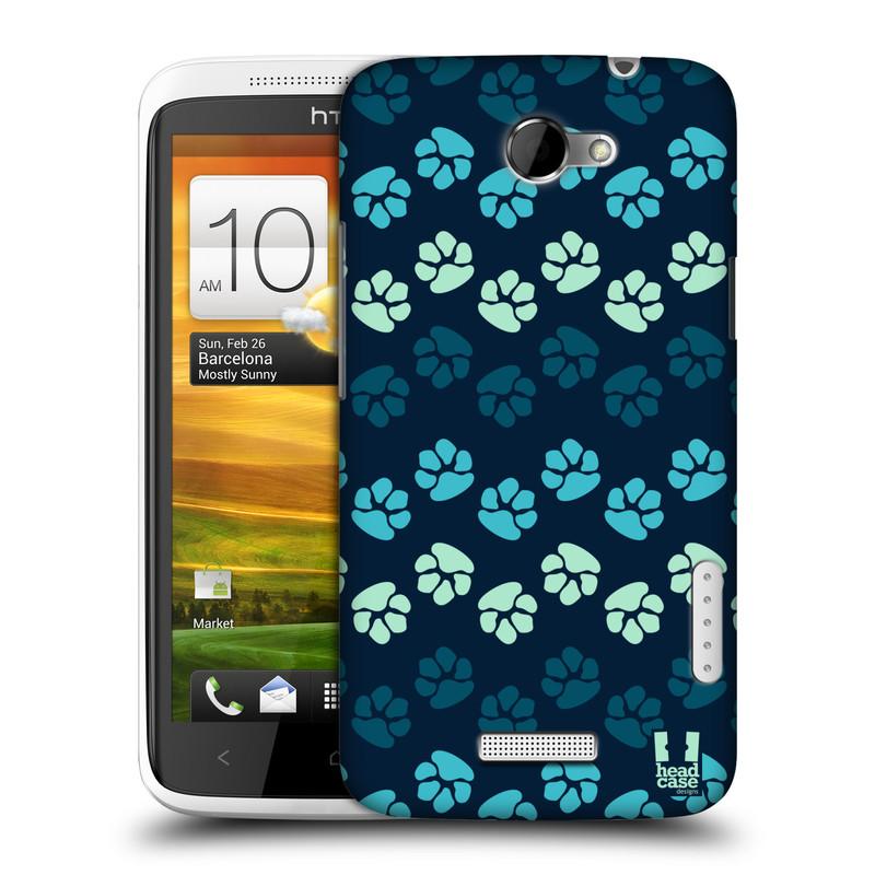 Plastové pouzdro na mobil HTC ONE X HEAD CASE TLAPKY MODRÉ (Kryt či obal na mobilní telefon HTC ONE X)