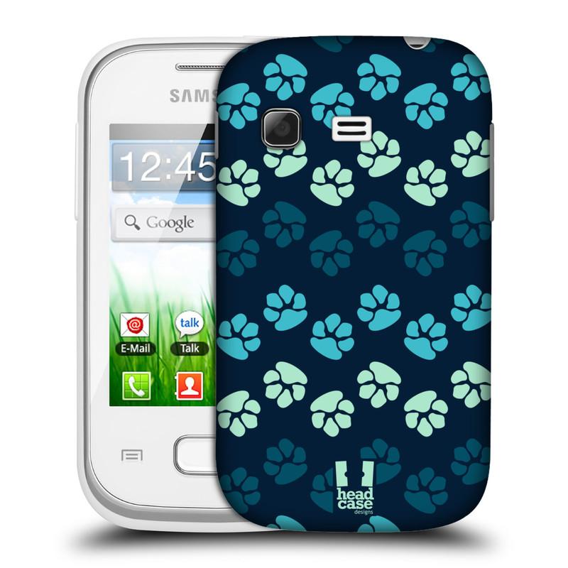 Plastové pouzdro na mobil Samsung Galaxy Pocket HEAD CASE TLAPKY MODRÉ (Kryt či obal na mobilní telefon Samsung Galaxy Pocket GT-S5300)