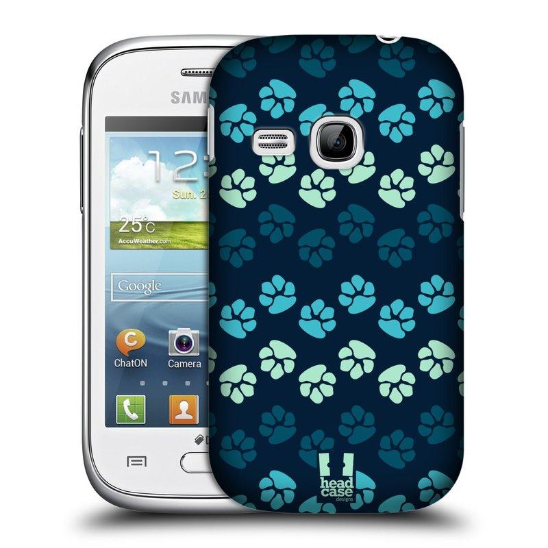 Plastové pouzdro na mobil Samsung Galaxy Young HEAD CASE TLAPKY MODRÉ (Kryt či obal na mobilní telefon Samsung Galaxy Young GT-S6310)