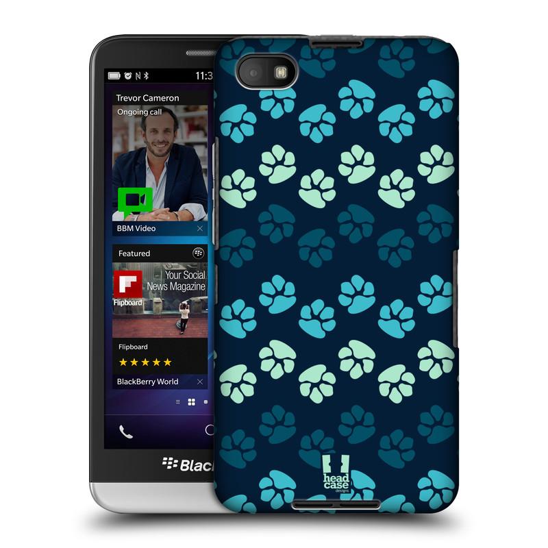 Plastové pouzdro na mobil Blackberry Z30 HEAD CASE TLAPKY MODRÉ (Kryt či obal na mobilní telefon Blackberry Z30)