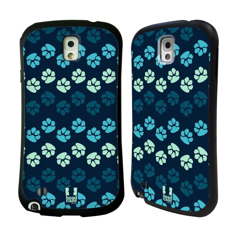 Nárazuvzdorné pouzdro na mobil Samsung Galaxy Note 3 HEAD CASE TLAPKY MODRÉ (Odolný nárazuvzdorný silikonový kryt či obal na mobilní telefon Samsung Galaxy Note 3 SM-N9005)