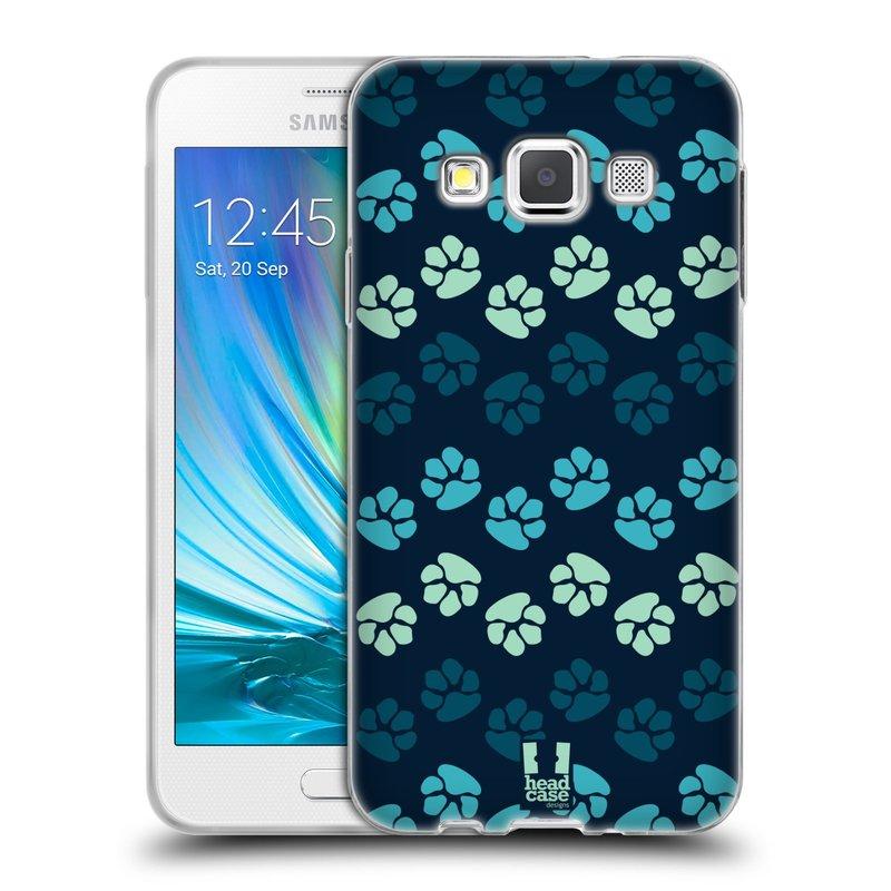 Silikonové pouzdro na mobil Samsung Galaxy A3 HEAD CASE TLAPKY MODRÉ (Silikonový kryt či obal na mobilní telefon Samsung Galaxy A3 SM-A300)