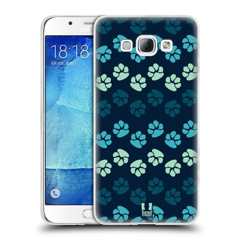 Silikonové pouzdro na mobil Samsung Galaxy A8 HEAD CASE TLAPKY MODRÉ (Silikonový kryt či obal na mobilní telefon Samsung Galaxy A8 SM-A800)