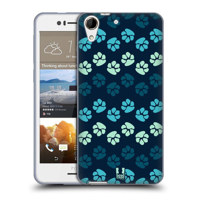 Silikonové pouzdro na mobil HTC Desire 728G Dual SIM HEAD CASE TLAPKY MODRÉ (Silikonový kryt či obal na mobilní telefon HTC Desire 728 G Dual SIM)