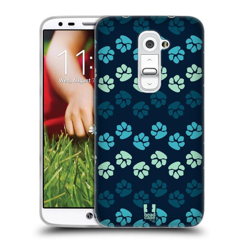 Silikonové pouzdro na mobil LG G2 HEAD CASE TLAPKY MODRÉ (Silikonový kryt či obal na mobilní telefon LG G2 D802)