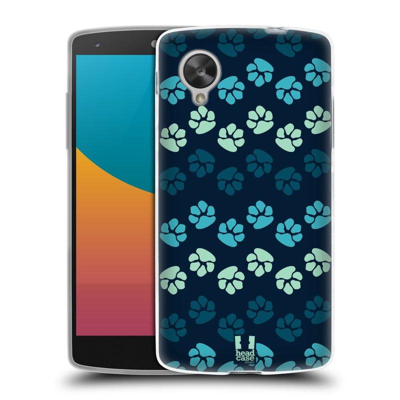 Silikonové pouzdro na mobil LG Nexus 5 HEAD CASE TLAPKY MODRÉ (Silikonový kryt či obal na mobilní telefon LG Google Nexus 5 D821)
