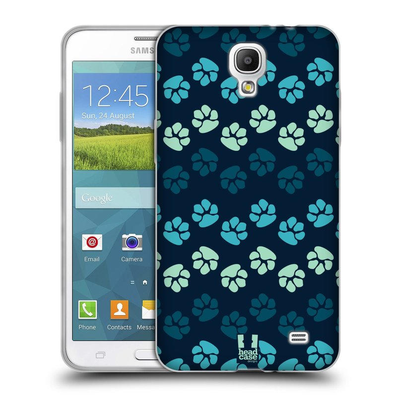 Silikonové pouzdro na mobil Samsung Galaxy Grand Mega 2 HEAD CASE TLAPKY MODRÉ (Silikonový kryt či obal na mobilní telefon Samsung Galaxy Grand Mega 2 SM-G750)