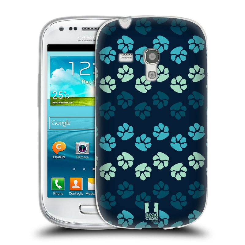 Silikonové pouzdro na mobil Samsung Galaxy S3 Mini VE HEAD CASE TLAPKY MODRÉ (Silikonový kryt či obal na mobilní telefon Samsung Galaxy S3 Mini VE GT-i8200)