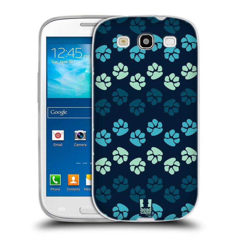 Silikonové pouzdro na mobil Samsung Galaxy S3 Neo HEAD CASE TLAPKY MODRÉ (Silikonový kryt či obal na mobilní telefon Samsung Galaxy S3 Neo GT-i9301i)
