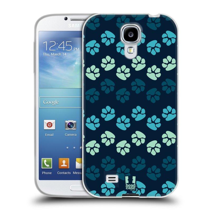 Silikonové pouzdro na mobil Samsung Galaxy S4 HEAD CASE TLAPKY MODRÉ (Silikonový kryt či obal na mobilní telefon Samsung Galaxy S4 GT-i9505 / i9500)
