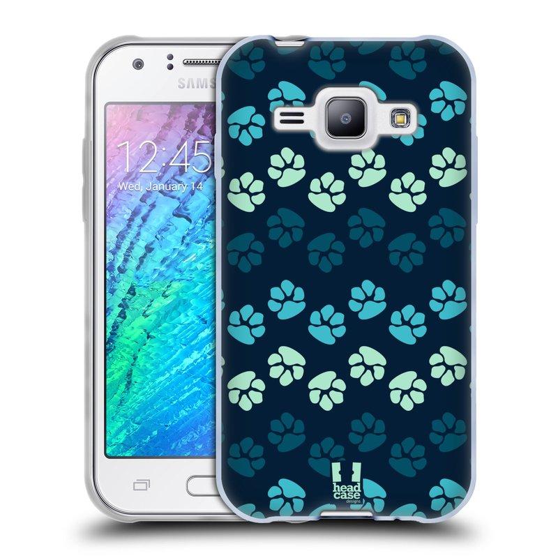 Silikonové pouzdro na mobil Samsung Galaxy J1 HEAD CASE TLAPKY MODRÉ (Silikonový kryt či obal na mobilní telefon Samsung Galaxy J1 a J1 Duos)