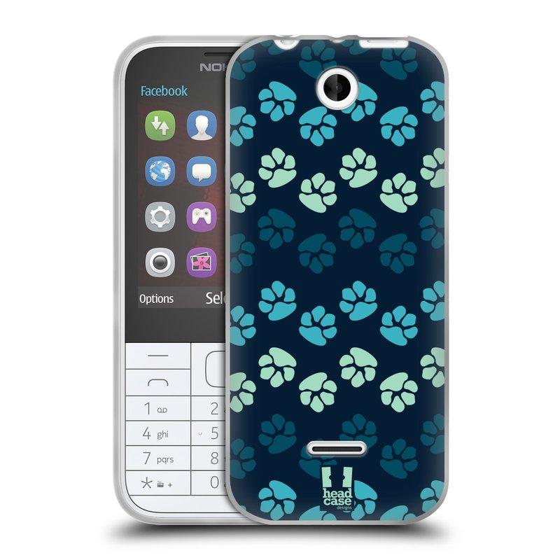 Silikonové pouzdro na mobil Nokia 225 HEAD CASE TLAPKY MODRÉ (Silikonový kryt či obal na mobilní telefon Nokia 225)