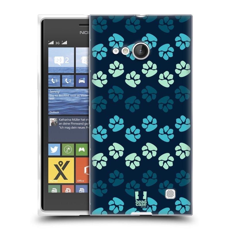 Silikonové pouzdro na mobil Nokia Lumia 730 Dual SIM HEAD CASE TLAPKY MODRÉ (Silikonový kryt či obal na mobilní telefon Nokia Lumia 730 Dual SIM)