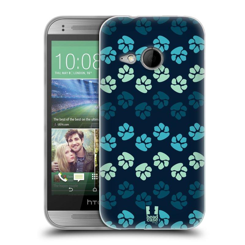 Silikonové pouzdro na mobil HTC ONE Mini 2 HEAD CASE TLAPKY MODRÉ (Silikonový kryt či obal na mobilní telefon HTC ONE Mini 2)