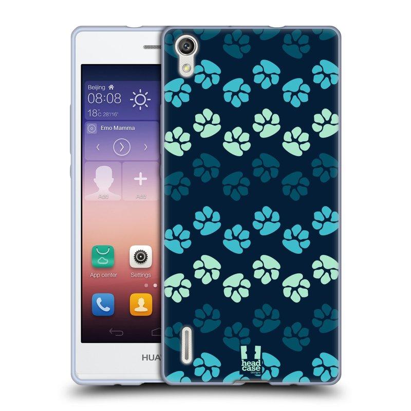 Silikonové pouzdro na mobil Huawei P7 HEAD CASE TLAPKY MODRÉ (Silikonový kryt či obal na mobilní telefon Huawei Ascend P7)