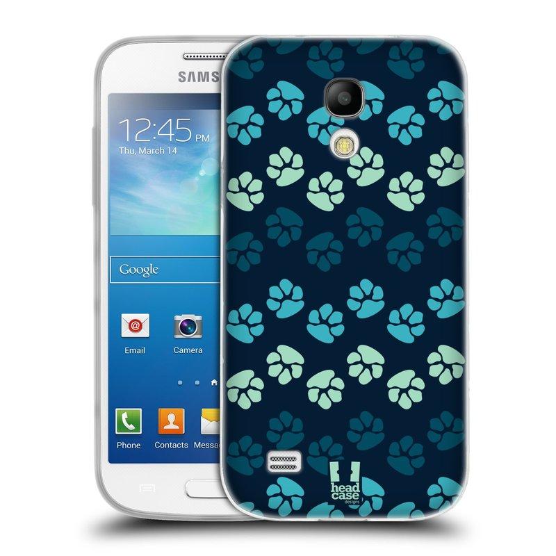 Silikonové pouzdro na mobil Samsung Galaxy S4 Mini HEAD CASE TLAPKY MODRÉ (Silikonový kryt či obal na mobilní telefon Samsung Galaxy S4 Mini GT-i9195 / i9190 (nepasuje na verzi Black Edition))
