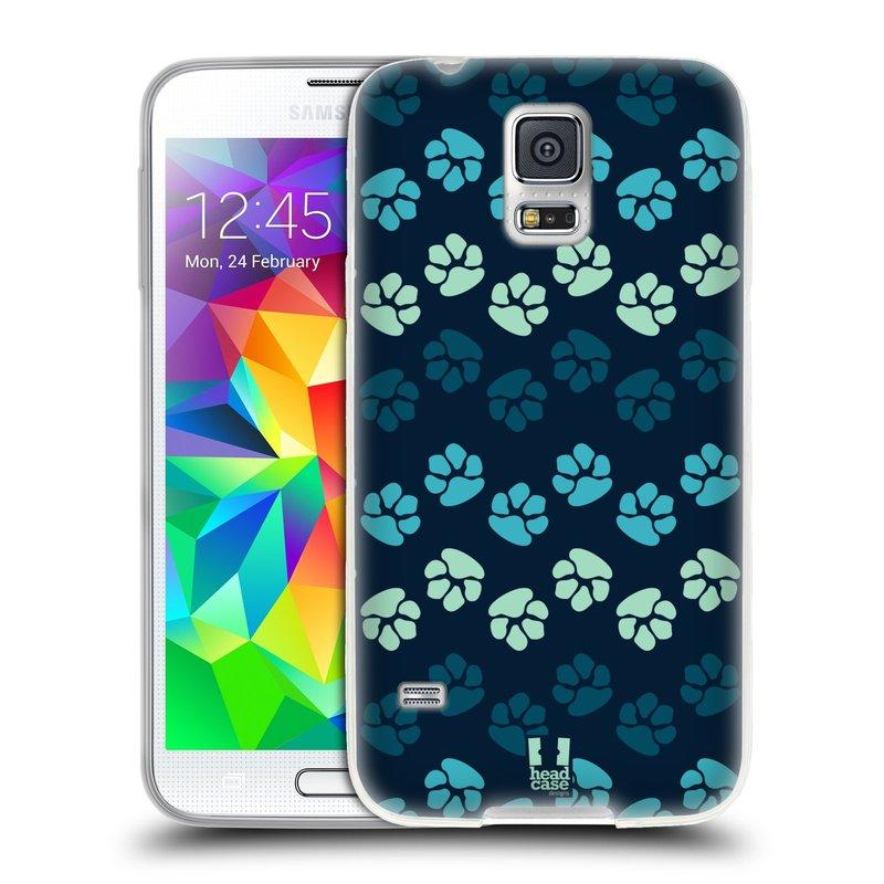 Silikonové pouzdro na mobil Samsung Galaxy S5 HEAD CASE TLAPKY MODRÉ (Silikonový kryt či obal na mobilní telefon Samsung Galaxy S5 SM-G900F)