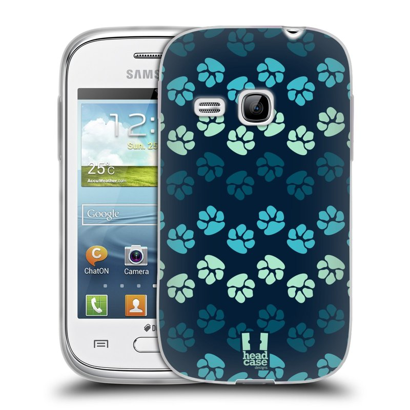 Silikonové pouzdro na mobil Samsung Galaxy Young HEAD CASE TLAPKY MODRÉ (Silikonový kryt či obal na mobilní telefon Samsung Galaxy Young GT-S6310)