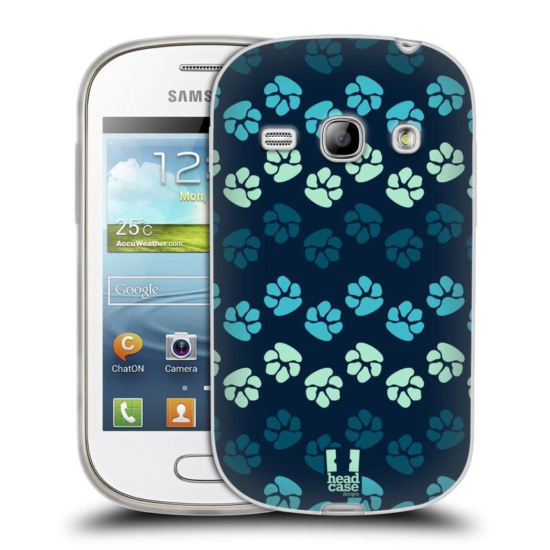 Silikonové pouzdro na mobil Samsung Galaxy Fame HEAD CASE TLAPKY MODRÉ (Silikonový kryt či obal na mobilní telefon Samsung Galaxy Fame GT-S6810)