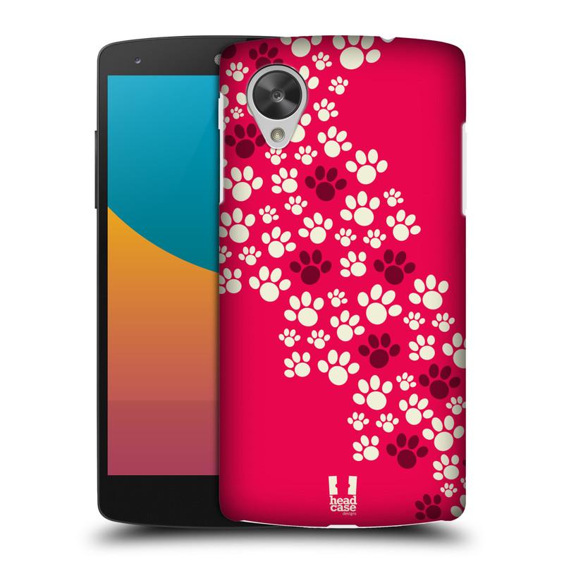 Plastové pouzdro na mobil LG Nexus 5 HEAD CASE TLAPKY RŮŽOVÉ (Kryt či obal na mobilní telefon LG Google Nexus 5 D821)